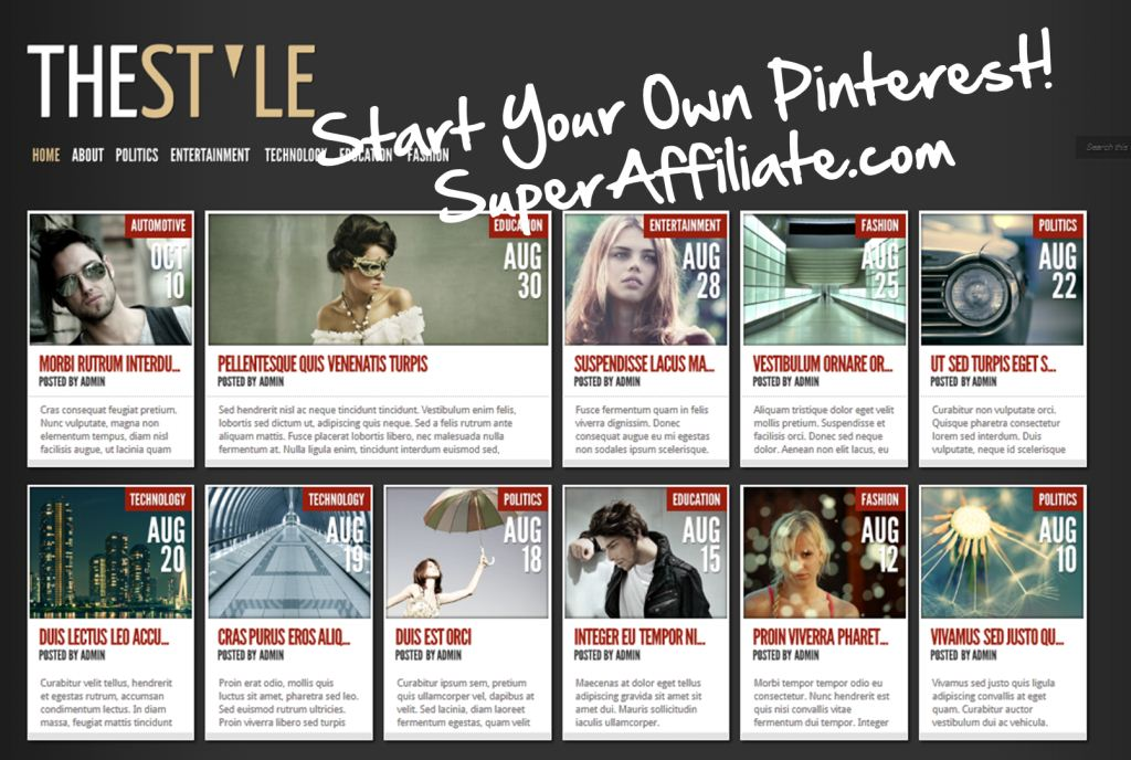 Wordpress Theme like Pinterest